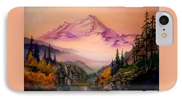 IPhone Case featuring the painting Mount Baker Morning by Sherry Shipley