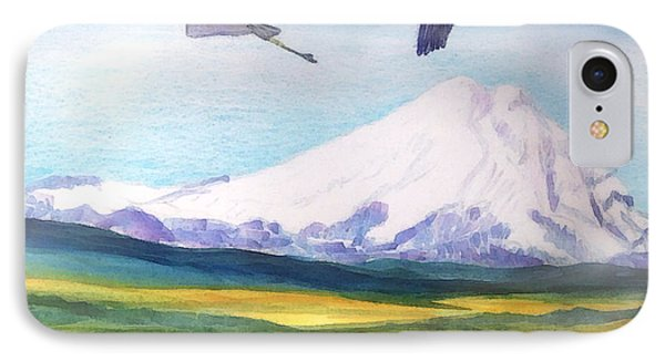 Mount Elbrus Watching Blue Herons Fly Over Sunflower Fields IPhone Case by Anastasia Savage Ealy