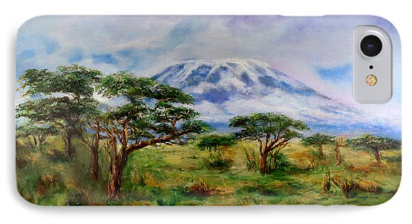 IPhone Case featuring the painting Mount Kilimanjaro Tanzania by Sher Nasser