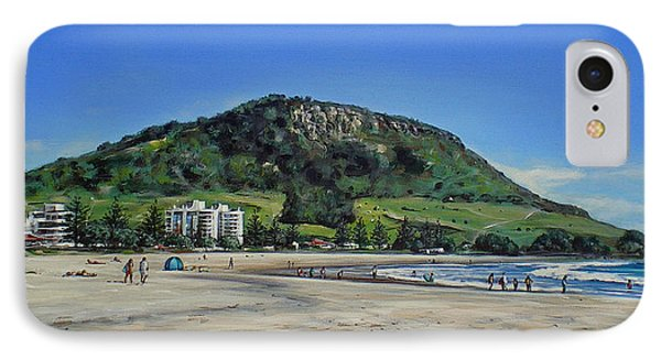 IPhone Case featuring the painting Mount Maunganui Beach 151209 by Sylvia Kula