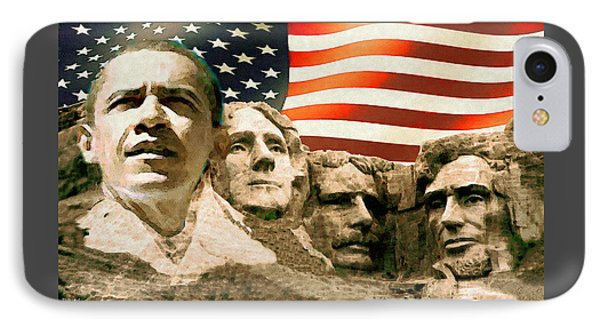 Obama Mount Rushmore IPhone Case by Art America Gallery Peter Potter