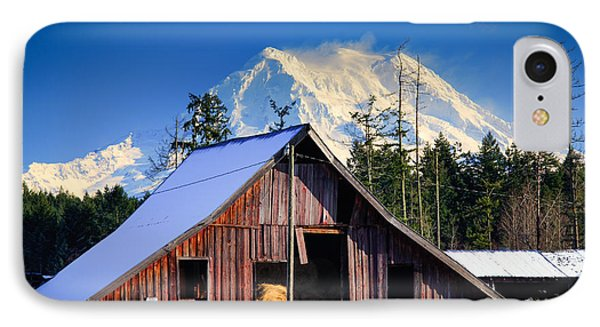 Mount Rainier And Barn IPhone Case