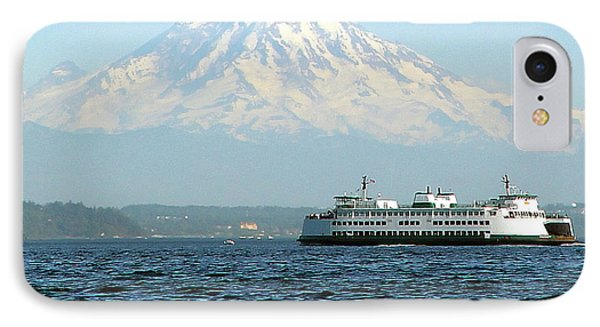 Mount Rainier And Ferry IPhone Case by John Bushnell
