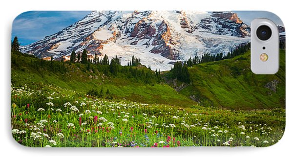 Mount Rainier Flower Meadow Phone Case by Inge Johnsson