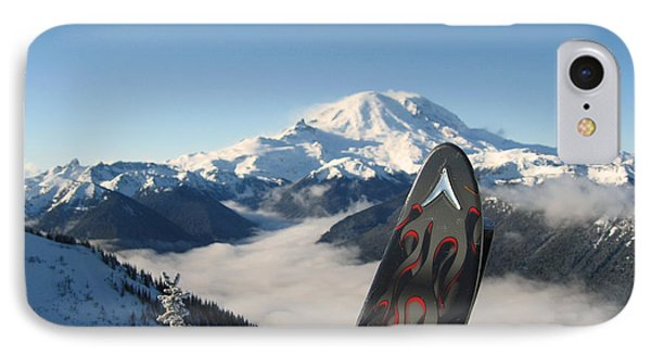 Mount Rainier Has Skis IPhone Case by Kym Backland