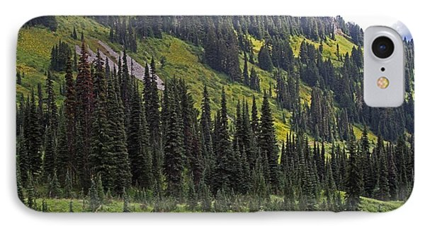 Mount Rainier Ridges And Fir Trees.. IPhone Case by Tom Janca