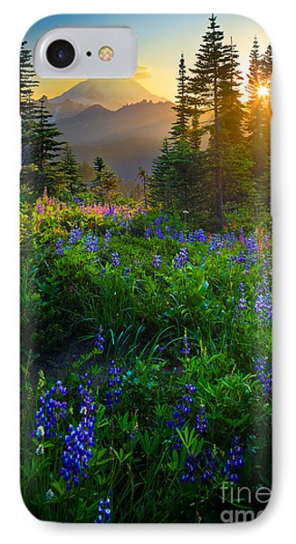 Mountain iPhone 7 Case - Mount Rainier Sunburst by Inge Johnsson