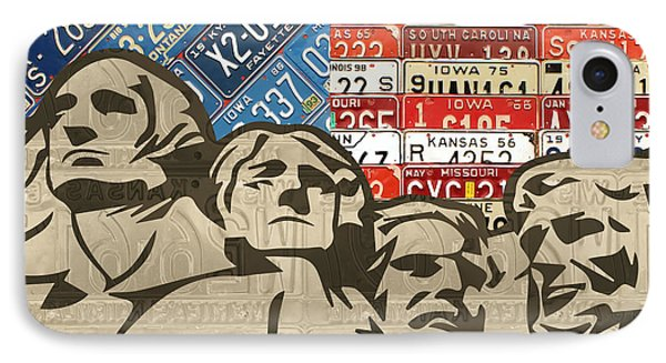Mount Rushmore Monument Vintage Recycled License Plate Art IPhone Case by Design Turnpike