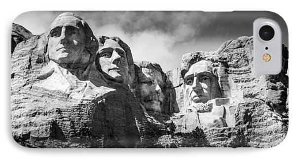 Mount Rushmore National Memorial In Black And White IPhone Case