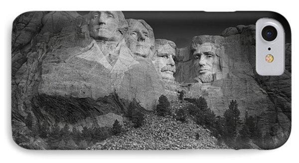 Mount Rushmore South Dakota Dawn  B W IPhone 7 Case by Steve Gadomski