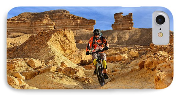 Mountain Biker In A Desert IPhone Case