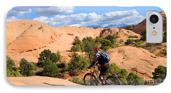 Mountain Biking Moab Slickrock Trail - Utah Phone Case by Gary Whitton