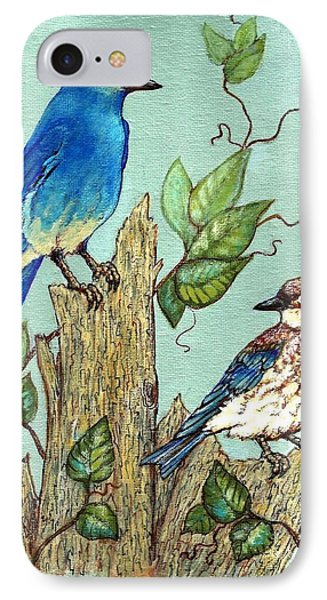 IPhone Case featuring the painting Mountain Bluebirds by VLee Watson