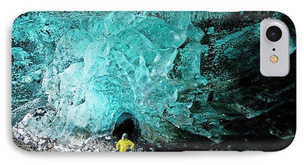 Mountain Guide Under A Glacier IPhone Case by Jeremy Walker
