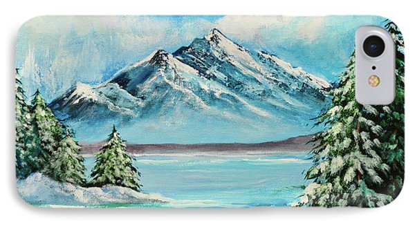 Mountain Lake In Winter Original Painting Forsale IPhone Case by Bob and Nadine Johnston
