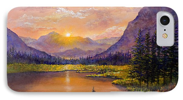 IPhone Case featuring the painting Mountain Lake Sunset by Lou Ann Bagnall
