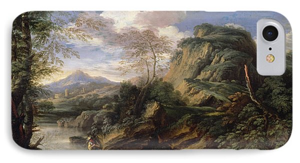 Mountain Landscape With Figures IPhone Case by Salvator Rosa