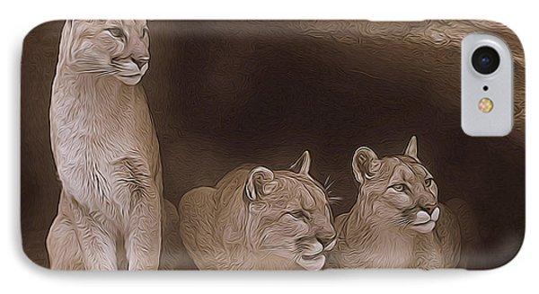 Mountain Lion Trio On Alert IPhone Case