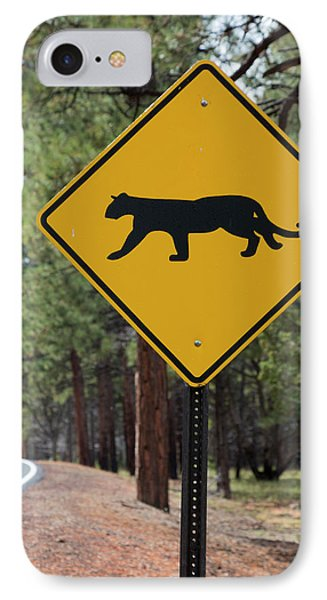 Mountain Lion Warning Sign IPhone Case by Jim West