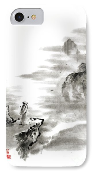 Mountain View Poet In Mountain Haiku Sky Snow And Clouds Landscape Sumi-e Original Ink Painting IPhone Case by Mariusz Szmerdt