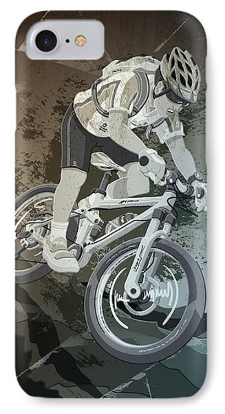 Mountainbike Sports Action Grunge Monochrome IPhone Case by Frank Ramspott