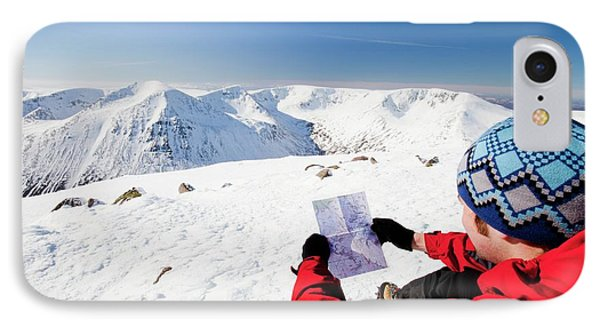 Mountaineer Checking His Map IPhone Case by Ashley Cooper