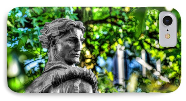 Mountaineer Statue In Trees Phone Case by Dan Friend