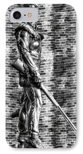 Mountaineer Statue With Black And White Brick Background IPhone Case by Dan Friend