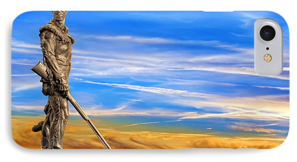 Mountaineer Statue With Blue Gold Sky IPhone Case by Dan Friend