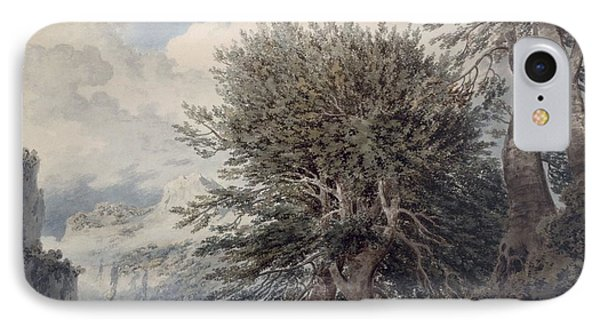Mountainous Landscape With Beech Trees IPhone Case by John Robert Cozens