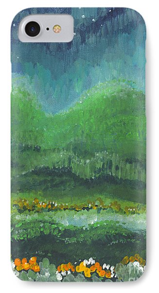 IPhone Case featuring the painting Mountains At Night by Holly Carmichael