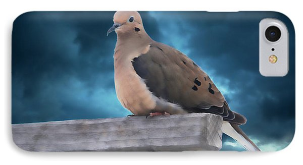 IPhone Case featuring the photograph Mourning Dove Blue Sky by Marjorie Imbeau