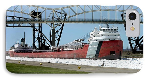 Moving Through The Ice To The Soo Locks IPhone Case