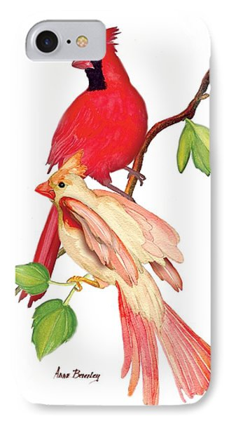 Mr. And Mrs. Cardinal IPhone Case by Anne Beverley-Stamps