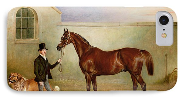 Mr Meakin Holding Sir Robert Peels Chestnut Hunter With His Dogs Hector And Jem Phone Case by John E Ferneley