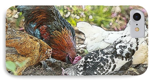Mr. Rooster And All The Chickens Scratching For A Snack Phone Case by Artist and Photographer Laura Wrede