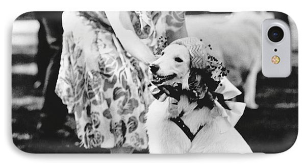 Mrs. Coolidge And Her Dog IPhone Case by Underwood Archives