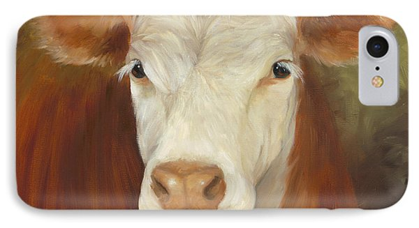 IPhone Case featuring the painting Ms Sophie - Cow Painting by Cheri Wollenberg
