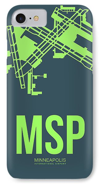 Msp Minneapolis Airport Poster 2 IPhone Case by Naxart Studio