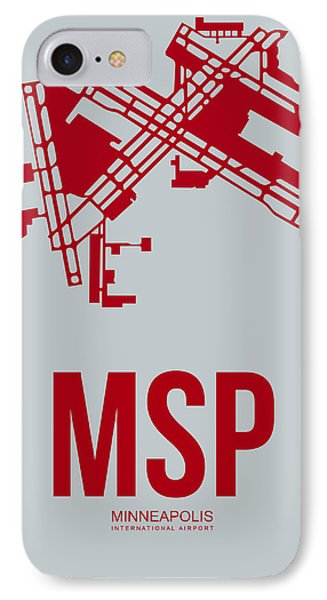 Msp Minneapolis Airport Poster 3 IPhone Case by Naxart Studio