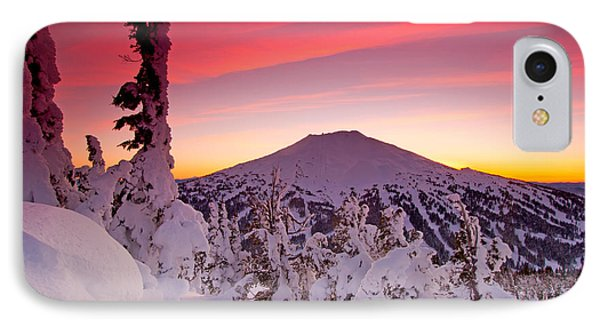 Mountain Sunset iPhone 7 Case - Mt. Bachelor Winter Twilight by Kevin Desrosiers