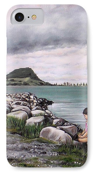 IPhone Case featuring the painting Mt Maunganui 140408 by Sylvia Kula