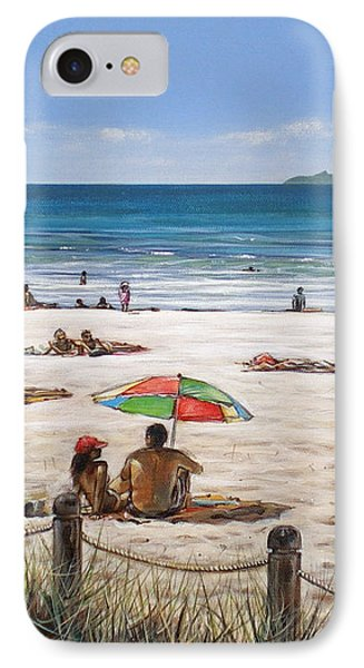IPhone Case featuring the painting Mt Maunganui Beach 090209 by Sylvia Kula