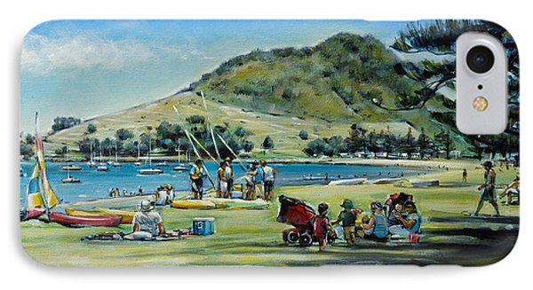 IPhone Case featuring the painting Mt Maunganui Pilot Bay 201210 by Selena Boron