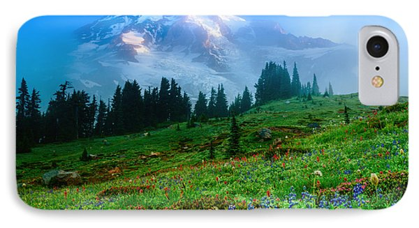 Mt. Rainier And Wildflowers IPhone Case by Chris McKenna