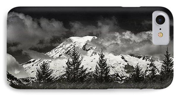 Mt Rainier Panorama B W IPhone Case by Steve Gadomski