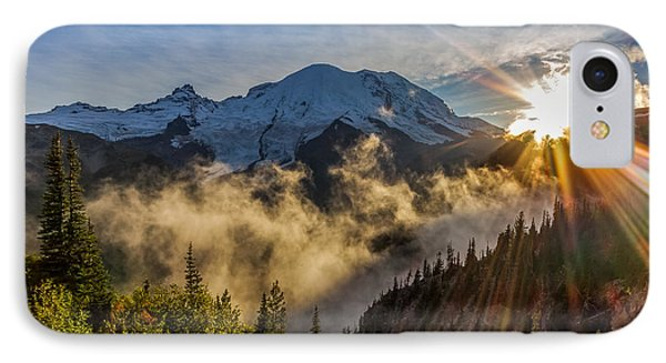 Mt Rainier Sunburst IPhone Case by Ken Stanback