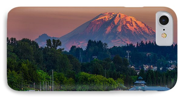 Mt Rainier Sunset At The Lake  IPhone Case
