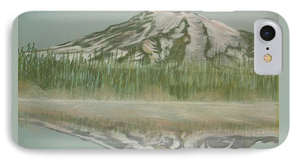 IPhone Case featuring the pastel Mt Rainier by Terry Frederick