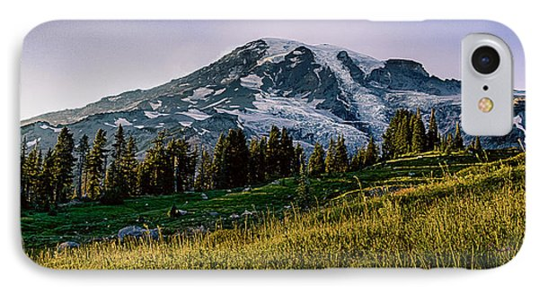 Mt Rainier With Purple Sky IPhone Case by Chris McKenna
